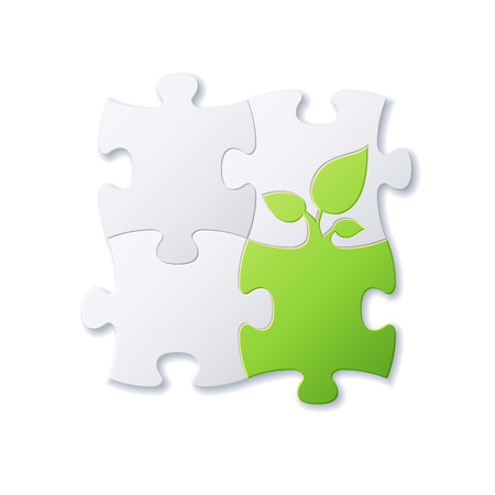 Puzzles and green leaf vector background file Vector