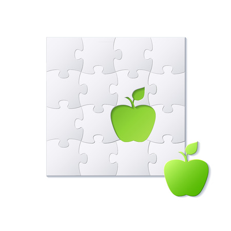 Puzzles and green apple concept vector background Vector