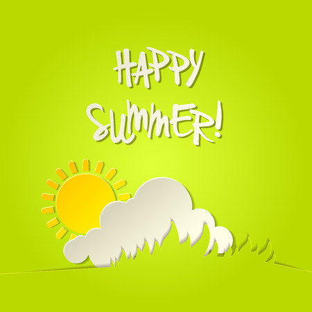 happy summer: Sunny happy summer vector bacground holiday card