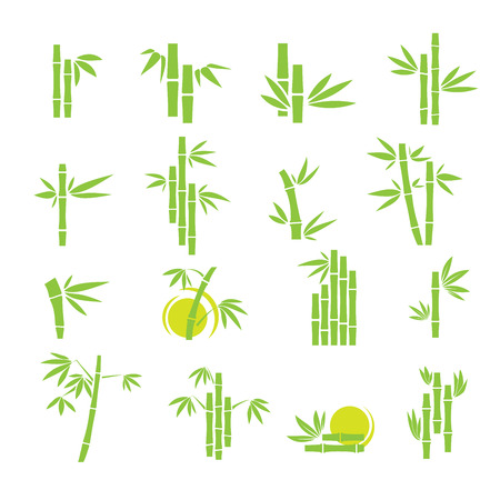 Green bamboo symbol icons set