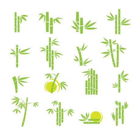 bambou: Verts icônes de symboles de bambou fixés