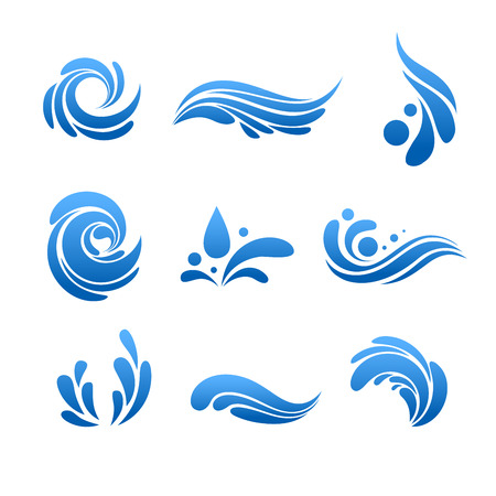 Druppel water en splash pictogram vector set