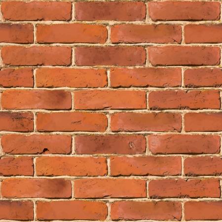brickwall: Pared de ladrillo rojo textura incons�til Vectores