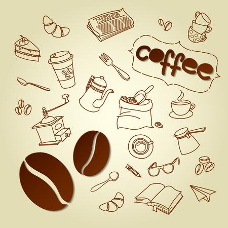 Coffee break menu vector doodles background Vector