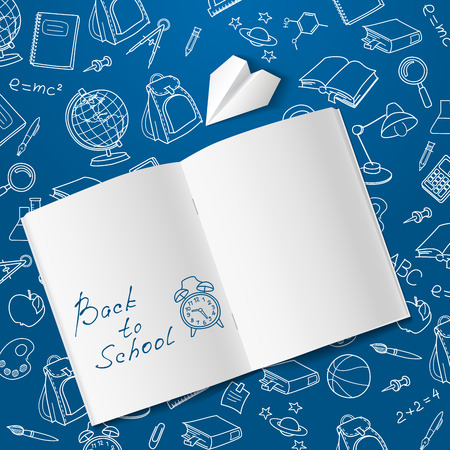 Terug naar school tekst einde schooltijd vector doodle