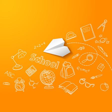 Paper plane and school doodle vector background Vector
