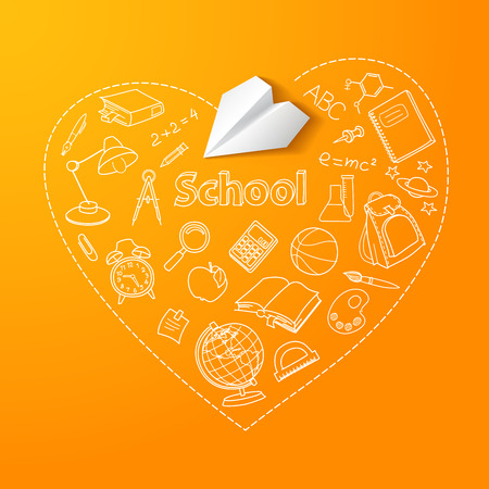 Paper plane and school doodle vector background Vector