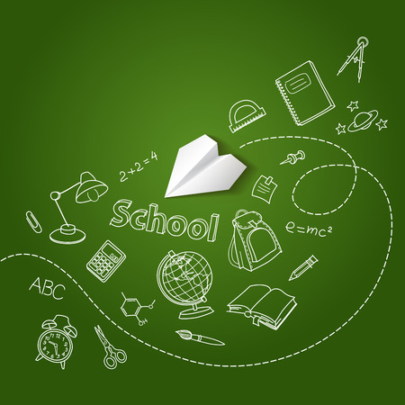 Paper plane and school doodle vector background Illustration