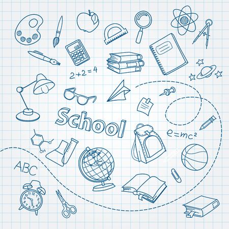 School doodle on notebook page vector background Vectores