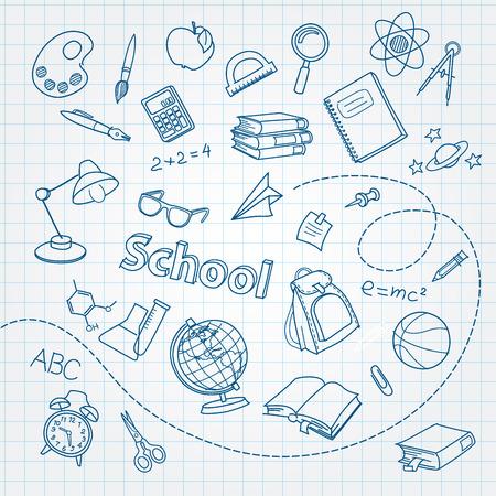 School doodle op notebook pagina vector achtergrond Stock Illustratie