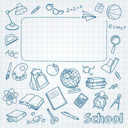 School doodle op de pagina met ruimte voor tekst Stock Illustratie
