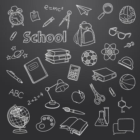 School doodle on a blackboard vector background Vector
