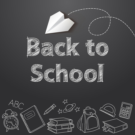 vector school: Back to school text end school vector doodle Illustration