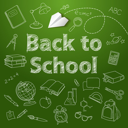 Back to school text end school vector doodle Vector