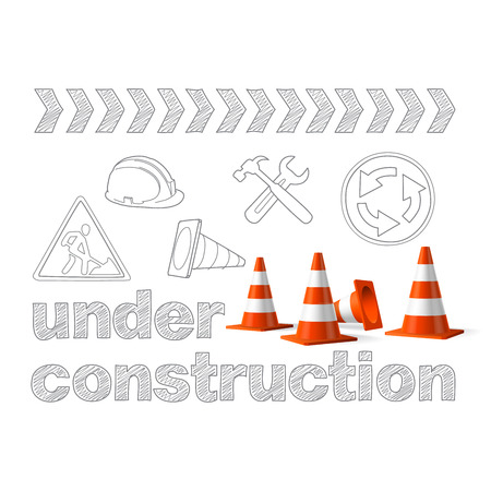 Under construction concept, sketched drawing with traffic cones  Vector