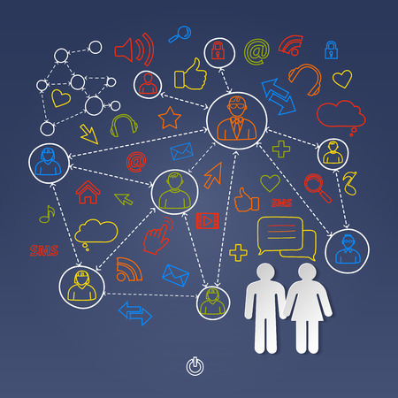 cyberspace: Global cyberspace social network concept vector