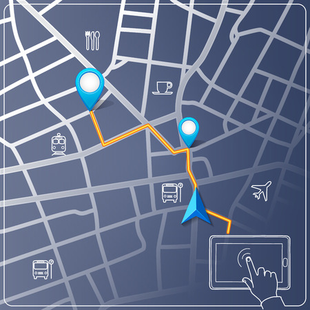 Using tablet for street map navigation Vector