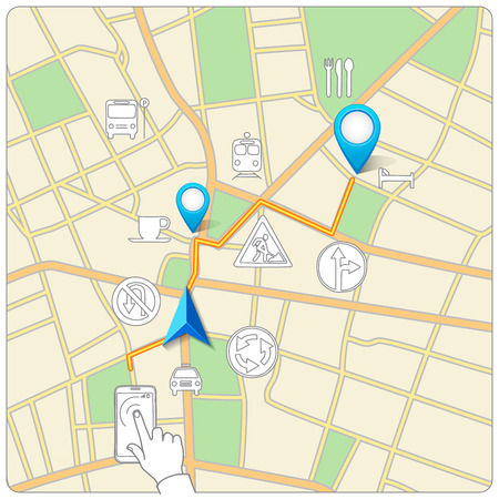 Using phone for street map navigation vector Vector