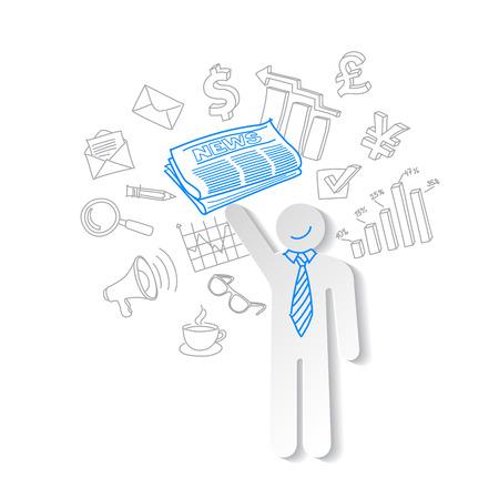 business news: Business news team leader teamwork communication vector Illustration