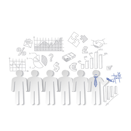 outsider: Business charts teamwork  and team outsider vector Illustration