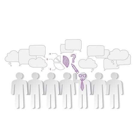 teamleider: Bedrijfs grafieken teamwork en teamleider vector Stock Illustratie
