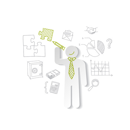 Paper man, puzzles, and business graphics. Marketing concept Vector