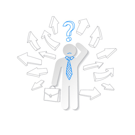 Paper man, arrow and question mark. Business concept. Vector
