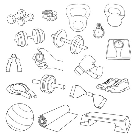 fit ball: Hand drawn set of fitness accessories.