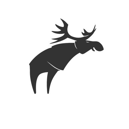 Stylized silhouette moose logo vector emblem illustration Illustration