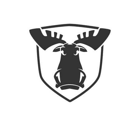 heads: The evil moose head logo vector emblem illustration
