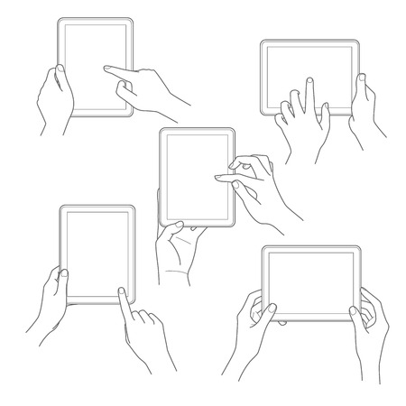 Set of tablet screen with hands Vector illustration