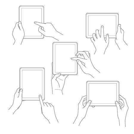 Set van tablet-scherm met handen Vector illustratie Stock Illustratie