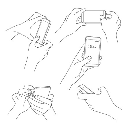 cellphone in hand: Hand holding smartphone sketch vector illustrations