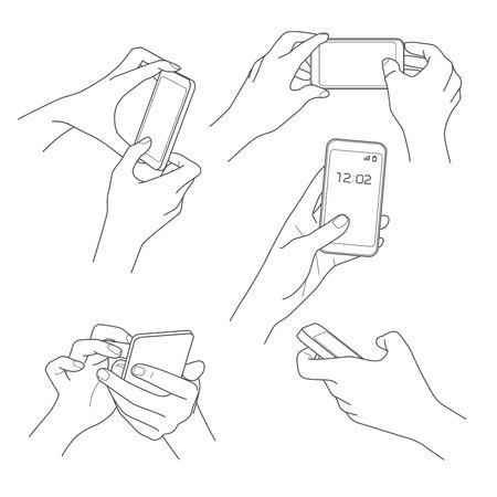 držení: Ruka držící smartphone skica vektorové ilustrace