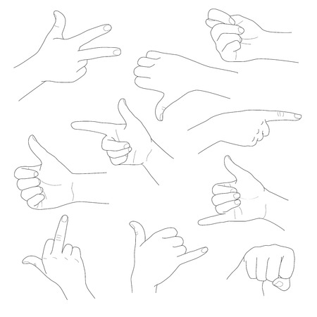 interpretations: Hands in different gestures and interpretations vector illustration
