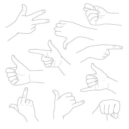 interpretations: Hands in different gestures and interpretations vector illustration