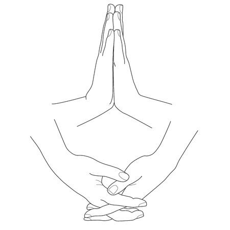folded hands: Hands folded in prayer, vector illustration