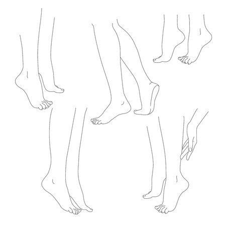 varicose veins: Womans legs female bare feet vector set