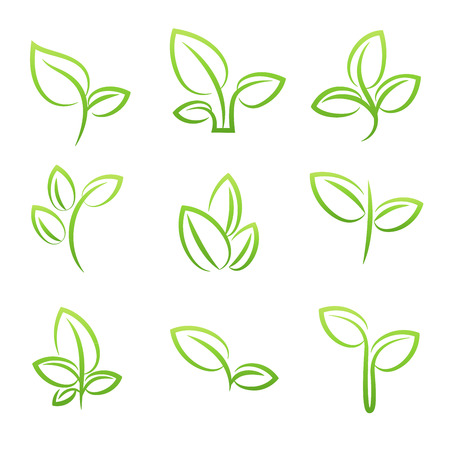 Leaf simbol, Set of green leaves design elements Ilustração