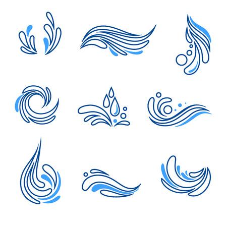 Druppel water en splash eco pictogram vector set Stock Illustratie