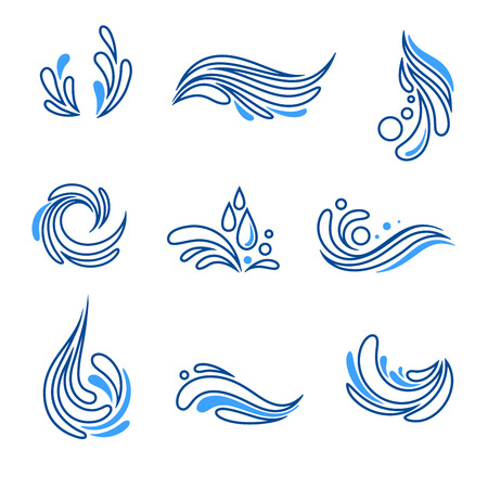 Water drop and splash eco icon vector set