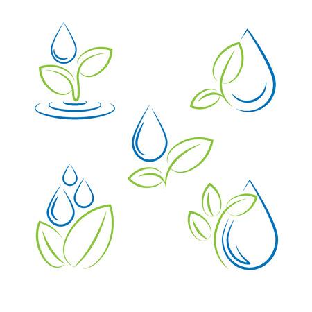 Water drop and leaf symbol vector set Vectores