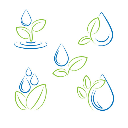 wet leaf: Water drop and leaf symbol vector set Illustration