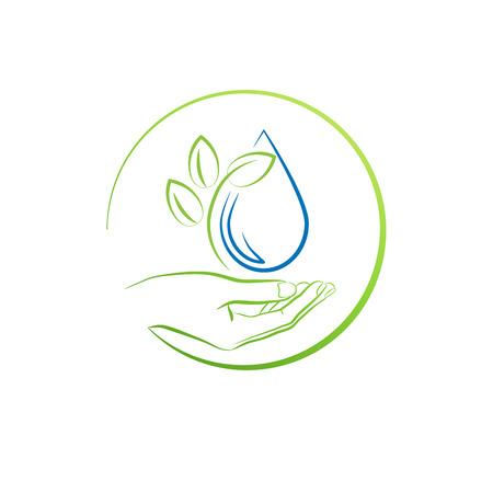 gocce di acqua: Mano, foglia e goccia d'acqua, illustrazione vettoriale concetto Vettoriali