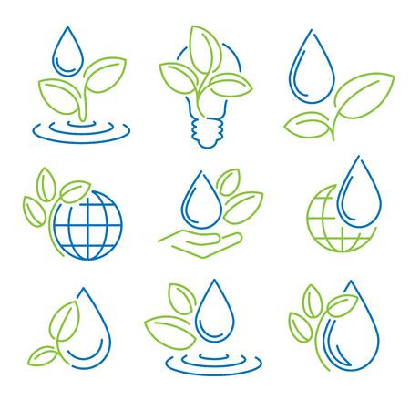 wellness environment: Ecology symbol set. Eco-icons.