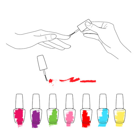 french manicure: Manicure, womens hands, the palette of nail polish vector set