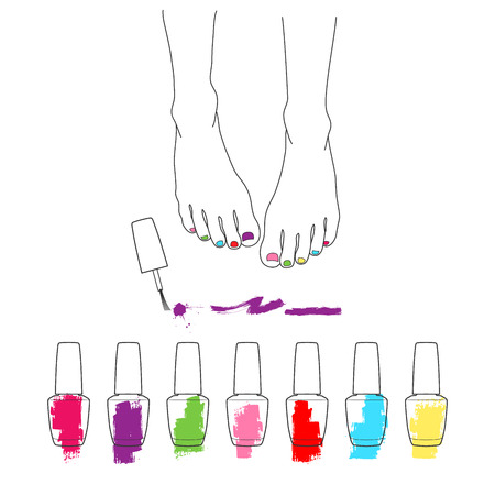 Female feet with pedicure, chiropody, vector