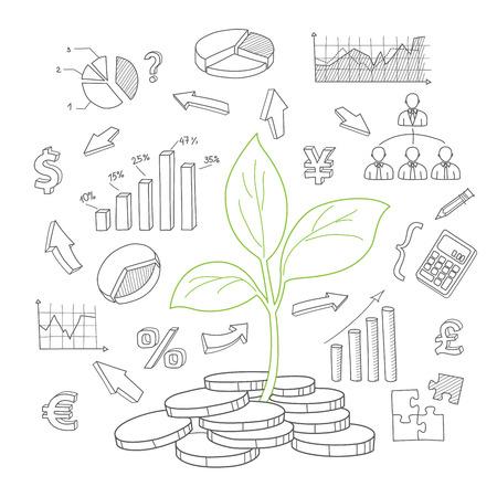 Money tree sprout and financial symbols vector sketch Vector