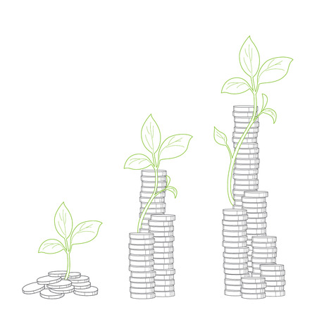 branch to grow up: Concept of  tree growing from money
