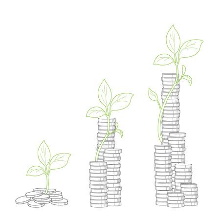 branch to grow up: Concepto de cultivo de �rboles de dinero Vectores